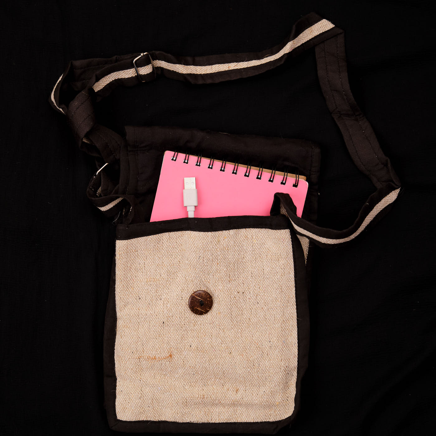 Pouchful Hemp & Cotton Handmade Sling Bag (Natural and Black)