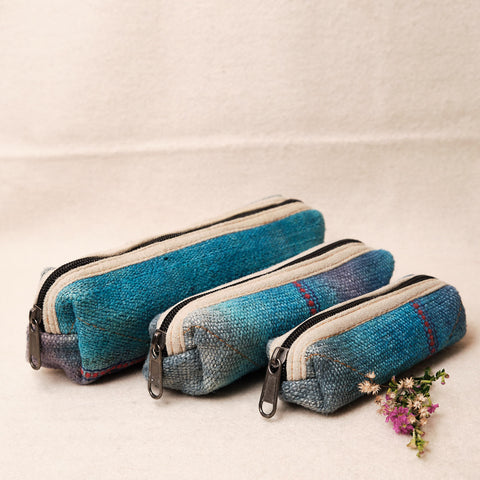 Pouchful All Hemp Handmade Pencil Pouch Set of 3 (Blue)