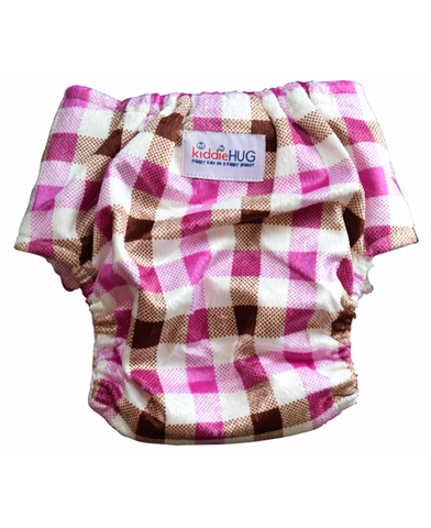 KiddieHug Ready-to-wear Heavy Absorbency Night time Reusable Baby Cloth Diaper with Hemp Booster Insert - Adjustable, Washable, Chemical Free (3 Months - 3 Years)-Gingham style