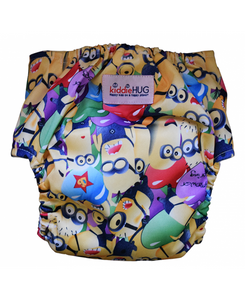 KiddieHug Reusable Pocket Cloth Diaper with Bamboo Insert - Adjustable, Washable, Chemical Free (3 Months - 3 Years) (Land of Minions)