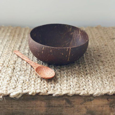EcoKarma Coconut Shell Bowl with spoon