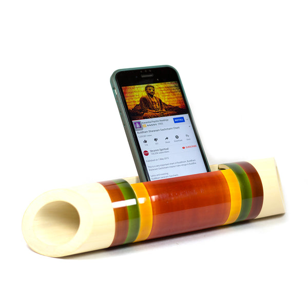 Electricity-Free Natural Ivory Wood Speaker/ Amplifier - Classic Wedge Cut - Coloured Bands