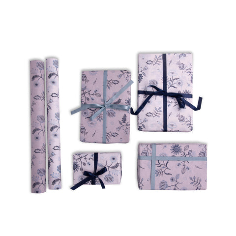 Bluecat Paper Designer Gift Wrap – Blue Floral Design – Navy Blue and Sky Blue Flower Prints (Set of 2)