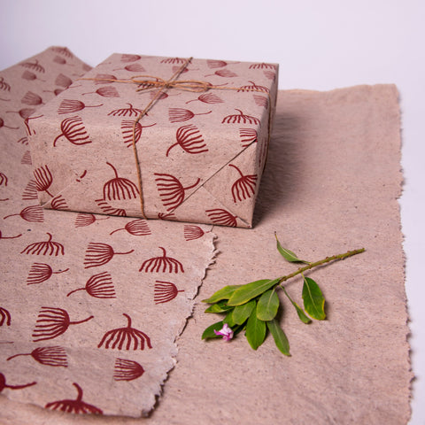 Bluecat Paper Premium Tea Paper Gift Wrap – Specially Hand Printed With Dandelion Prints (Set of 2)