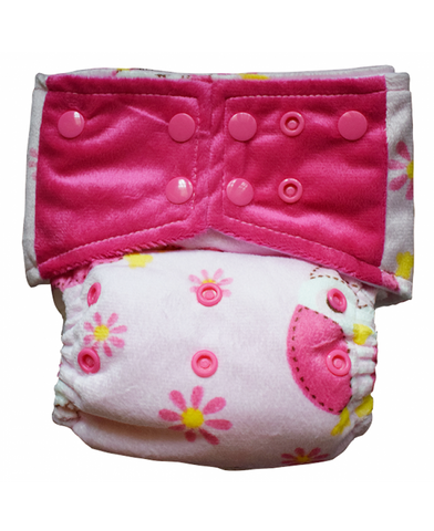 KiddieHug Reusable Pocket Cloth Diaper with Bamboo Insert - Adjustable, Washable, Chemical Free (3 Months - 3 Years) (Pink Blossoms)