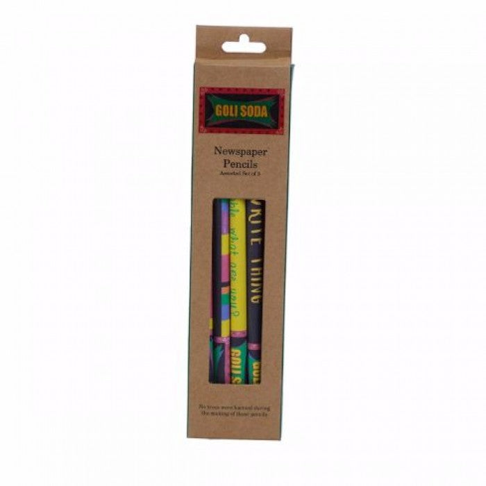 GOLI SODA Upcycled Multicolor Newspaper Pencils (Pack of 5)