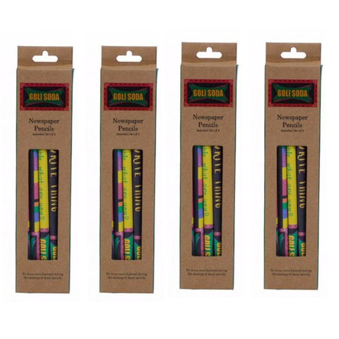 GOLI SODA Upcycled Multicolor Newspaper Pencils (Pack of 20)