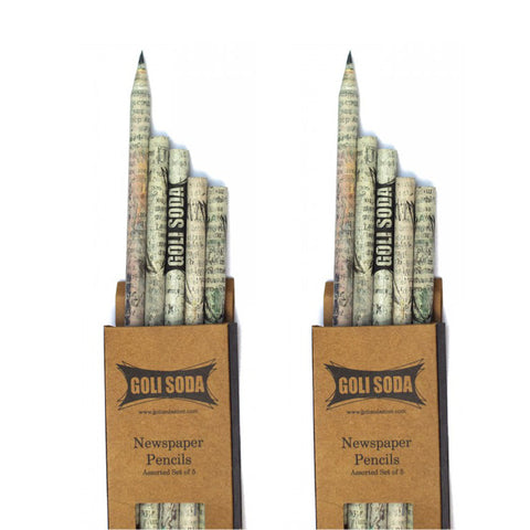 GOLI SODA Upcycled Plain Newspaper Pencils (Pack of 10)