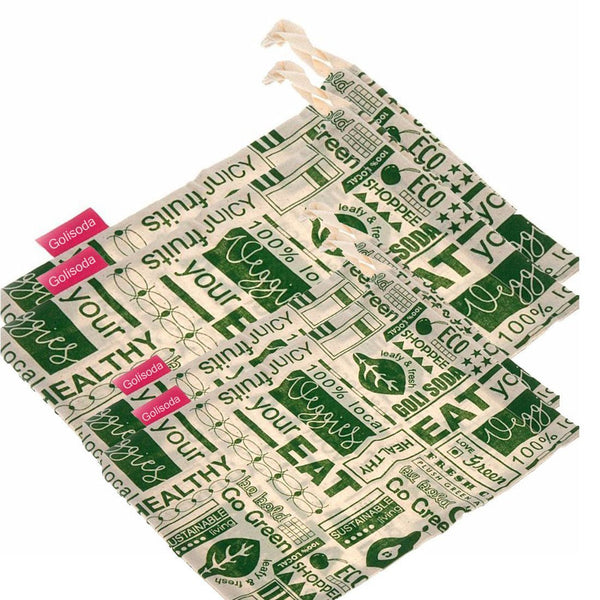 GOLI SODA Go Green Reusable Cotton Vegetable Bag Combo - 2 Small + 2 Big (Pack Of 4)