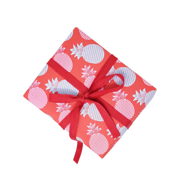 Screen printed red gift wrapping paper – sky blue and pink pineapple