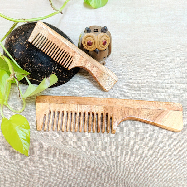 Neem Wood Comb - Fine teeth with handle - Mommy and Baby - Set of 2