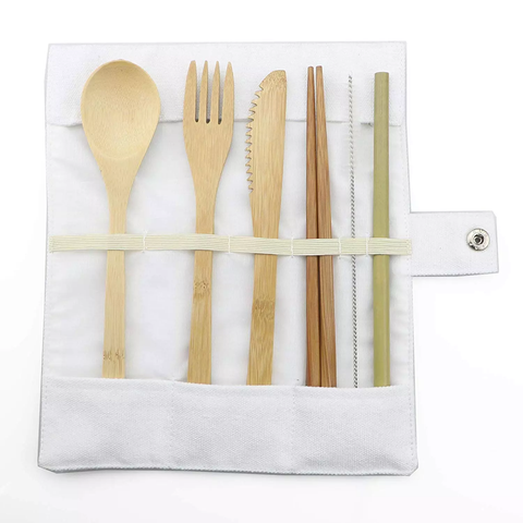 6-Piece Bamboo Travel Cutlery Set