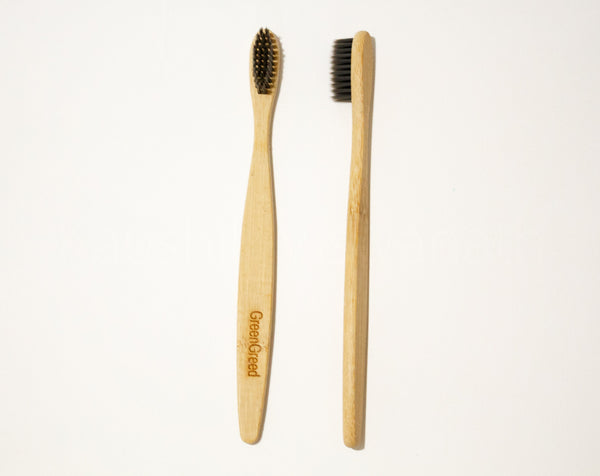 Green Greed WOODEN TOOTHBRUSH - BLACK (Pack of 2)