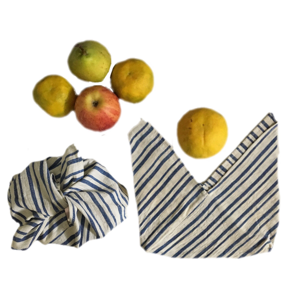 Tanuka Bento Snack Bag -  Set of 2  knot bags  in organic 'Kala' cotton  ( Blue Lines Design)