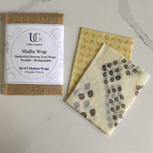 Madhu Wrap (Beeswax food wrap) Set of 2 Medium Wraps in Certified Organic Fabric