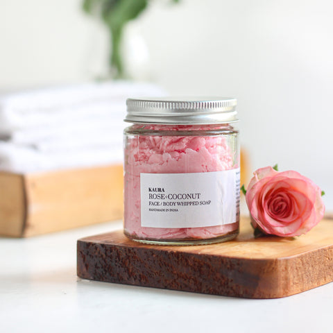 Rose coconut whipped soap for Face
