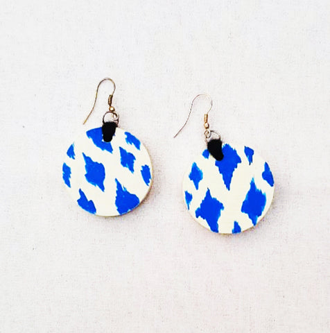 Ikat handpainted wooden earrings