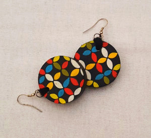 geometrical wooden earring
