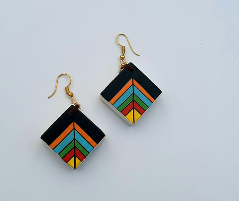 multicolour wooden earring