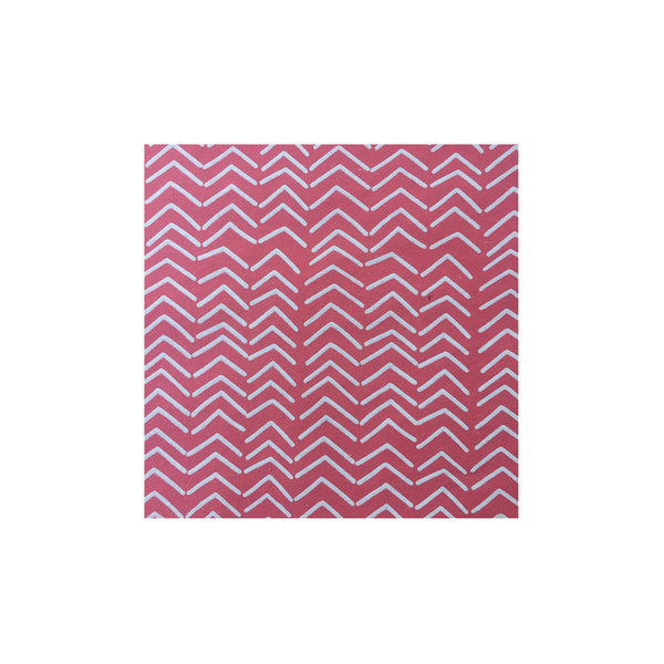 Screen printed gift wrapping paper – red with zigzag print