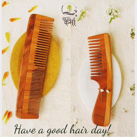 Ecokarma Neem wood hair comb (pack of 2)