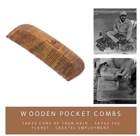 Wooden Pocket Comb (Pack of 2) with Free bamboo straw