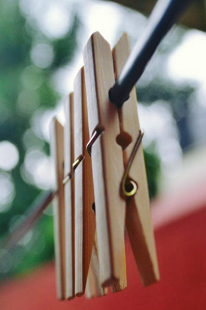 Bamboo Pegs and Laundry Brush Combo