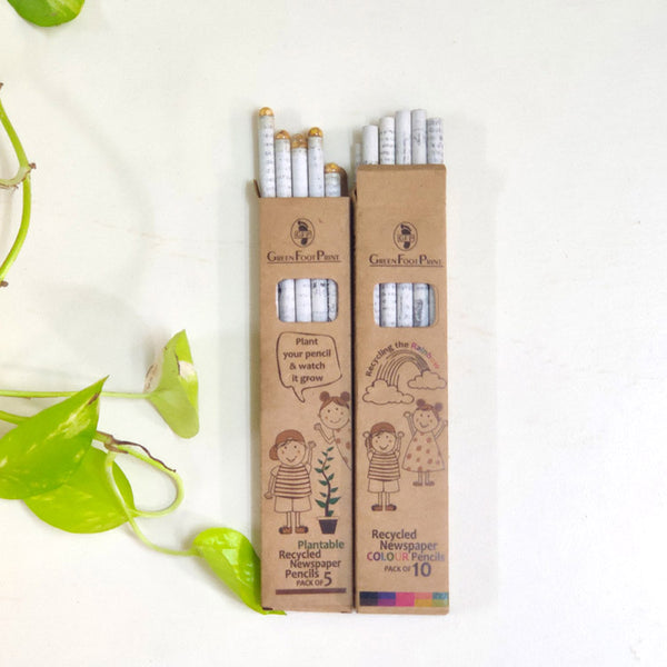 Recycled News paper COLOUR pencils [pack of 10] & Plantable Seed pencils [pack of 5]