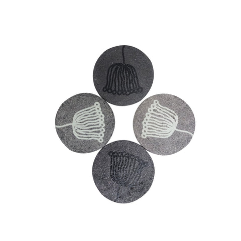 Paper mache coasters – light and dark grey with trident print