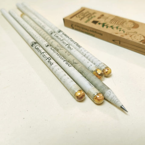 Plantable Recycled News paper Seed Pencils - Set of 5 pencils