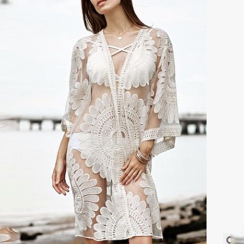 684c765695 Beach Sun Protection Clothing Hollow Perspective Beauty Back Lace Crochet  Flower Long Sleeve Dress Bikini Blouse