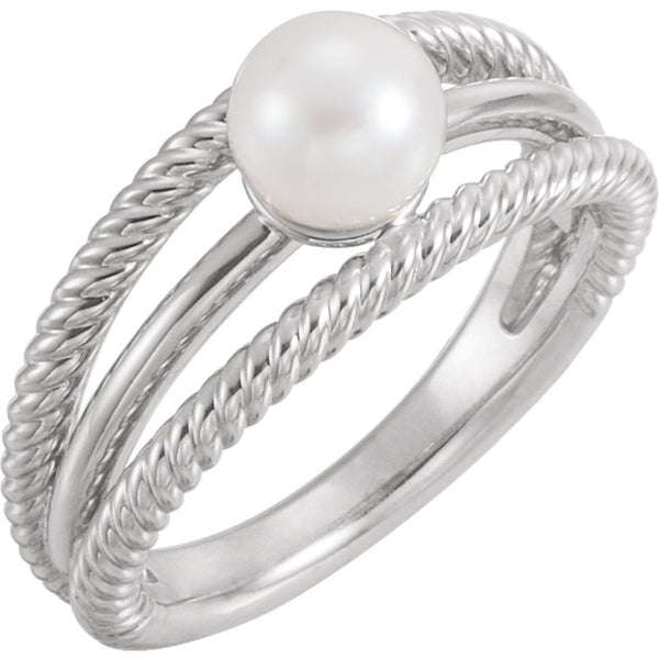 Negative Space Rope Pearl Ring - Jewelry - KA Designs Online
