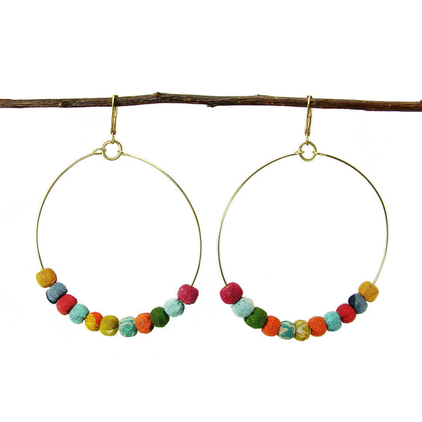 Kantha Beaded Hoop Earrings - WorldFinds - Handmade - KA Designs Online