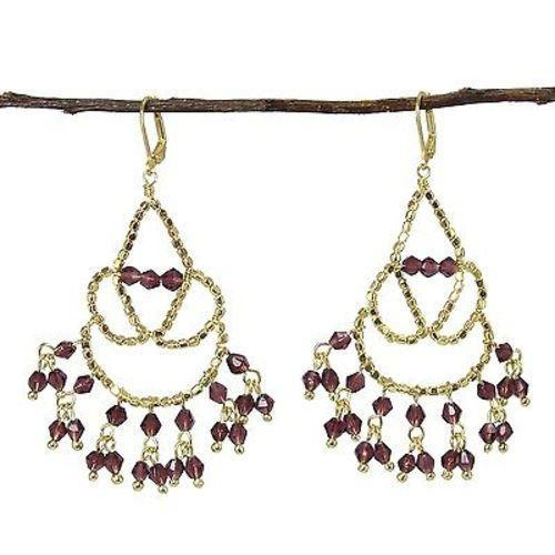Maharaja Chandelier Earrings in Plum Handmade and Fair Trade