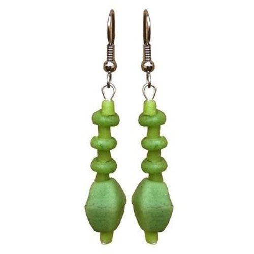 Lime Green Glass Pebbles Earrings Handmade and Fair Trade