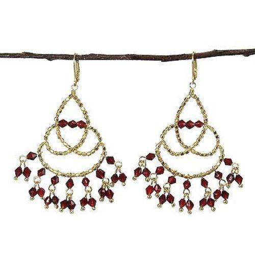 Maharaja Chandelier Earrings in Burgundy Handmade and Fair Trade