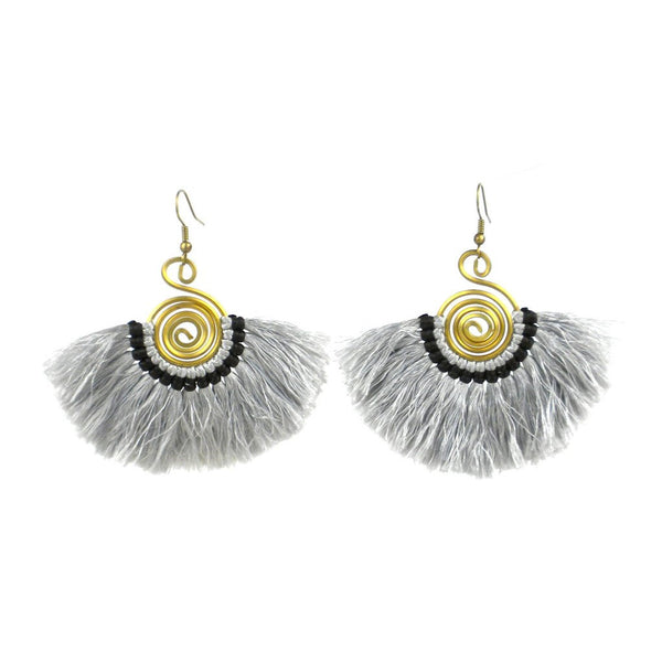 Flamenco Fringe Earrings - Platinum - Global Groove (J) - Handmade - KA Designs Online