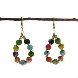 Kantha Beaded Teardrop Earrings - WorldFinds - Handmade - KA Designs Online