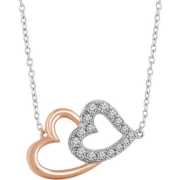 Accented Double Heart Necklace - Jewelry - KA Designs Online