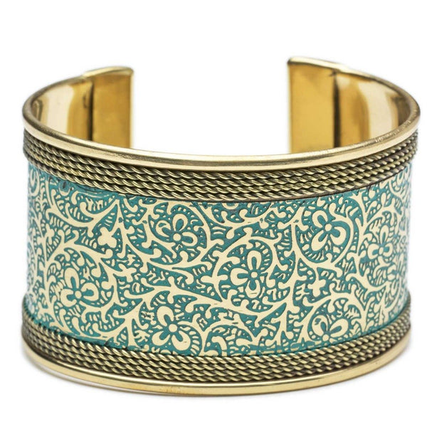 Metal Impression Cuff - Teal and Gold - Matr Boomie (Jewelry) - Handmade - KA Designs Online