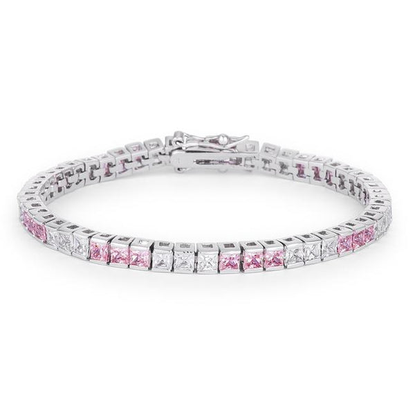 9.7Ct Princess Cut 7in CZ Pink and Clear Rhodium Bracelet - Bracelets - KA Designs Online