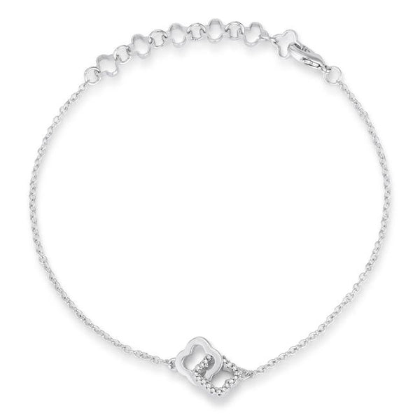 .1 Ct Rhodium Bracelet with Interlocking Floral Links - Bracelets - KA Designs Online