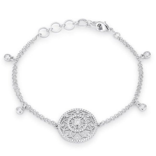 .5 Ct Rhodium Bracelet with Interlocking Circles and CZ - Bracelets - KA Designs Online