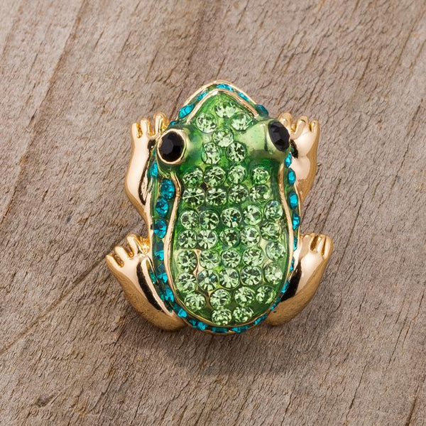Green And Gold Tone Frog Brooch With Crystals - Brooches - KA Designs Online