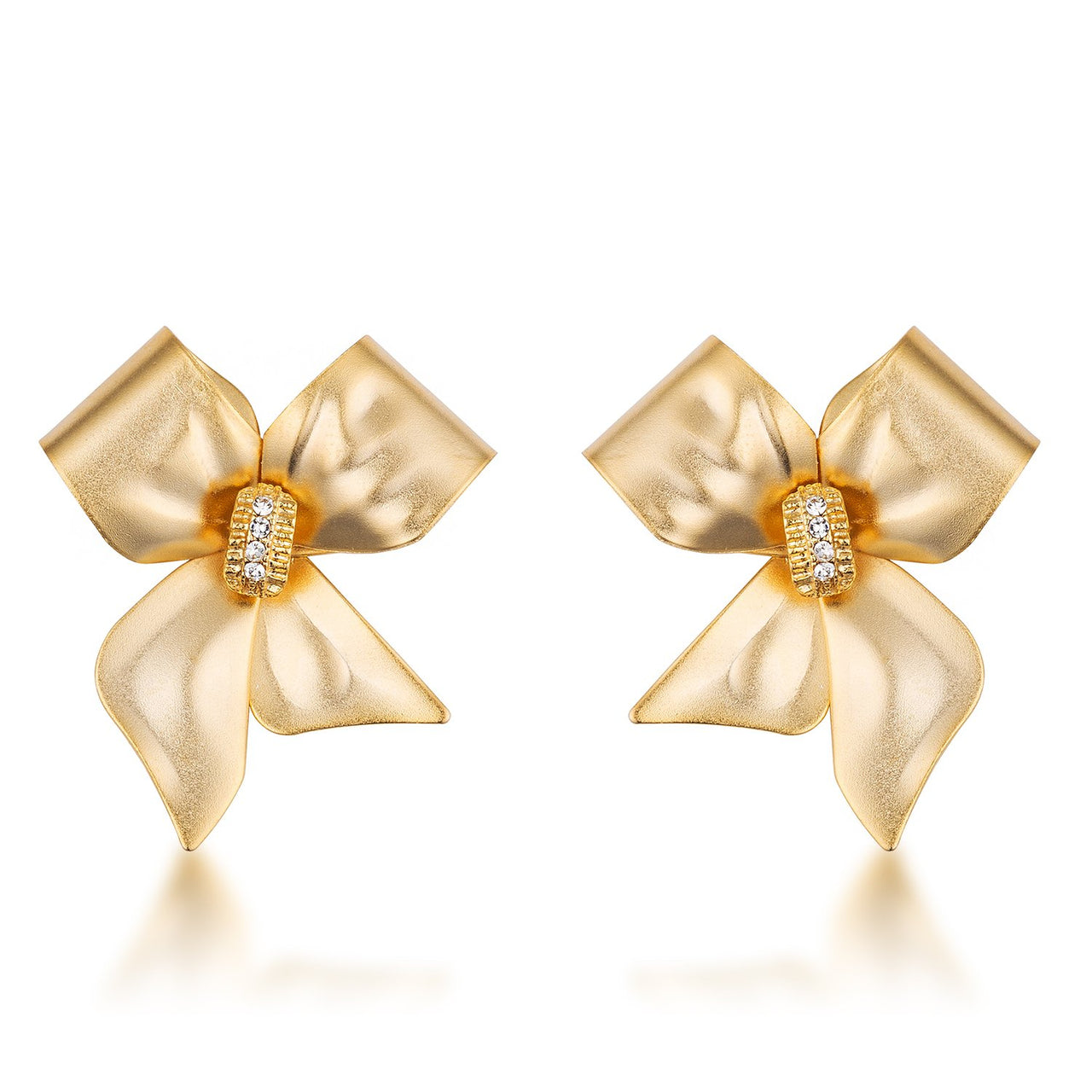 18k Matte Gold Plated Crystal Accented Bow Earrings - Earrings - KA Designs Online