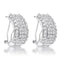 2.9Ct Dazzling Rhodium Plated Clear CZ Huggie - Earrings - KA Designs Online