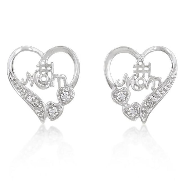 #1 Mom Heart Earrings - Earrings - KA Designs Online