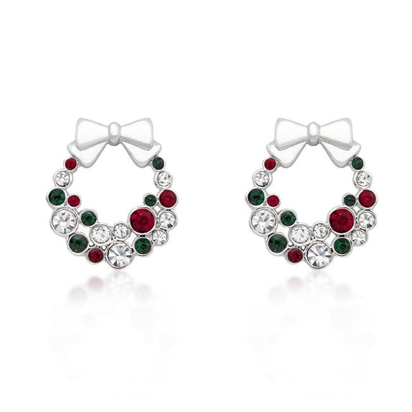 Holiday Wreath Colored Crystal Earrings - Earrings - KA Designs Online