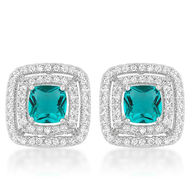 Aqua Halo Stud Earrings - Earrings - KA Designs Online