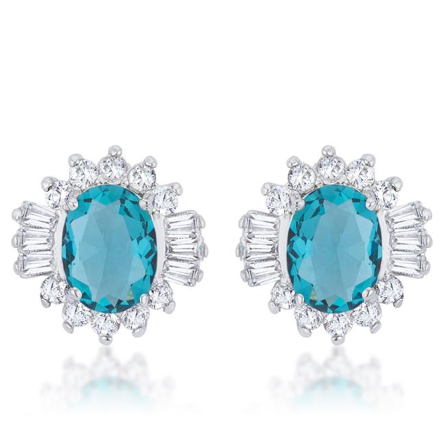 Chrisalee 3.3ct Aqua CZ Rhodium Classic Stud Earrings - Earrings - KA Designs Online